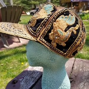 Vintage Embroidered Flatbrim Hat